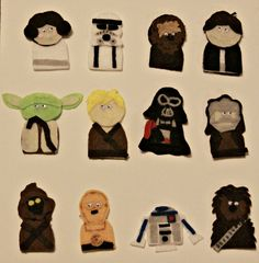 Star Wars Finger Puppets Craft - A Sparkle of Genius Crafts For Kids To Make, Diy Arts And Crafts, Fun Crafts, Finger Puppet Patterns, Finger Puppets, Star Wars Crafts, Puppet Crafts, Felt Patterns, Punch Art
