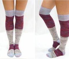 Pastel Block Knitted Thigh High Knee High Socks