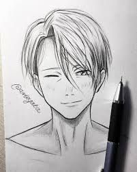 Drawing Anime Sketches Character Design 55 Ideas - My Manga Anime Boy Sketch, Anime Drawings Sketches, Sketches Of Boys, Ice Drawing, Manga Drawing, Yuri On Ice, Anime Boy Zeichnung, Anime Guys With Glasses, Ice Art