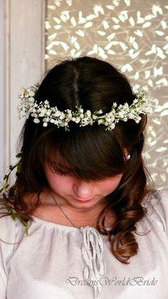 boho green wire hair vine flower girl bride Wedding gypsophila flower crown babys breath hair wreath garland pagan celtic halo prom