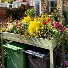Most attractive and affordable wheelie bin store in the UK. Planters made from recycled material. Have fun planting your wheelie bin garden. No one wants to wheelie bins, so disguise them with our wheelie bin garden covers. You will love them! Small Garden Landscaping Ideas Uk, Garden Hideaway Ideas, Small Front Garden Ideas Uk, Small Garden Uk, New Build Garden Ideas, Garden Design Ideas Uk, Front Garden Ideas Driveway, Small Back Gardens, Front Garden Landscape