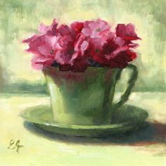 """Flowers in the Teacup"" original fine art by Linda Jacobus"