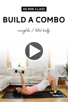 Total body workout class with a set of medium weights. Low impact strength training, warm up and cool down included. #workoutclass #homeworkout #workoutvideo Hiit Workout Videos, Workout Guide, Workout For Beginners, Fun Workouts, At Home Workouts, Workout Classes, At Home Workout Plan, Belly Fat Workout, Total Body