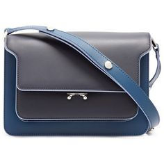 Marni Trunk medium leather shoulder bag ($1,800) ❤ liked on Polyvore featuring bags, handbags, shoulder bags, navy multi, navy leather handbag, navy blue leather purse, navy leather purse, navy blue handbags and leather purses