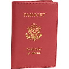 #RoyceLeather, #TravelAccessories, #TravelWallets - Royce Leather Foil Stamped Passport Jacket - Red