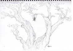 Just a little doodle of a fairy in a tree. #50daychallenge Jaime Quinn art drawing