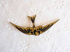 Pierre Bex Bird Brooch, Vintage Art Deco Style Enamel Pin, Black and Gold