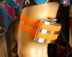 Adjustable Flask Garter 4oz flask  - Bright Neon Orange - wedding, party, costume, the possibilities are endless