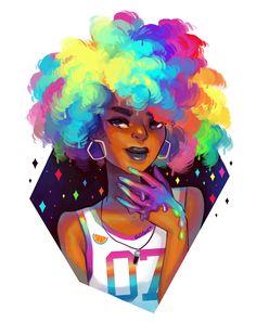 Rainbow Art Print by genevab Black Love Art, Black Girl Art, Black Is Beautiful, Black Girl Magic, Art Girl, Rainbow Drawing, Rainbow Art, Cartoon Kunst, Cartoon Art