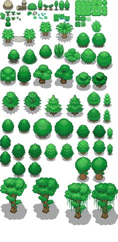 Pixel Art Fantasy Tons of Tileset - Light jungle trees by Phyromatical on DeviantArt Your One Y Pixel Design, Web Design, Game Design, Arte 8 Bits, Pixel Art Background, Jungle Tree, Sprites, 2d Game Art, Pix Art