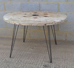 Upcycled cable drum dining table on hairpin legs by Frances Bradley. www.brunswickvintage.com