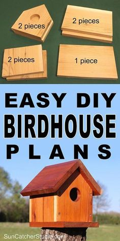 bird house plans Easy DIY Birdhouse plans to attract birds to your backyard and garden. This bird house makes a great family project that the kids can help build. Woodworking Projects For Kids, Diy Wood Projects, Woodworking Plans, Woodworking Classes, Woodworking Shop, Woodworking Furniture, Woodworking Crafts, Woodworking Workshop, Woodworking Chisels