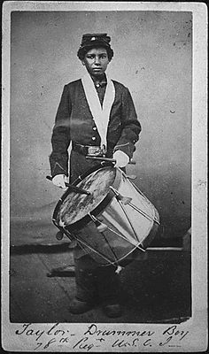 Taylor, a drummer boy for the 78th Infantry Regiment, U.S. Colored Troops. The 78th Regiment served primarily in Port Hudson, Louisiana, from 1864-1866.  (War Dept.)