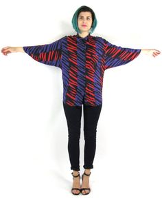 80s Striped Abstract Blouse Funky Colorful Print by honeymoonmuse