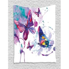 Butterflies Decorations Wall Hanging Tapestry, Watercolors Print Of Butterfly Sign Of The Soul Power Female Art Modern Home Decor, Bedroom Living Room Dorm Accessories, By Ambesonne #homedecoraccessories