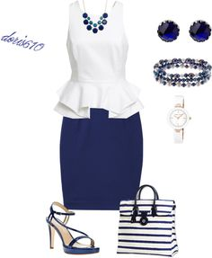 white pleated peplum top - dark blue rhinestone stud earrings - blue/teal necklace - dark heels (flats) - dark blue pencil skirt - white watch - mixed blue/ pearl bracelet - dark blue/white striped bag