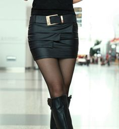 Fashionable Korean New Arrival Pure Color Sheath PU Sexy Mini Skirt : Tidebuy.com