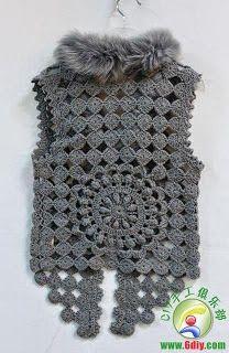 Crochet Vest - Detailed graphs and layout. Has circular motif on the back also Crochet Bolero Pattern, Gilet Crochet, Irish Crochet Patterns, Crochet Motifs, Crochet Coat, Crochet Jacket, Freeform Crochet, Crochet Blouse, Crochet Clothes