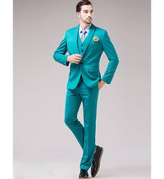 Sea Green Solid Cotton Acrylic Tuxedo Suit #Suit