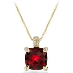 David Yurman Chatelaine Pendant Necklace with Garnet and Diamonds in... ($1,950) ❤ liked on Polyvore featuring jewelry, necklaces, apparel & accessories, garnet, david yurman necklace, 18k gold necklace, garnet necklace, diamond necklaces and 18k yellow gold necklace