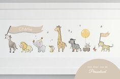framed safari parade print by daisy & bump nursery art | notonthehighstreet.com