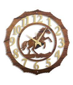 Laser Venue Wood & Gold Finished Horse Designer Wall Clock: Buy Laser Venue Wood & Gold Finished Horse Designer Wall Clock at Best Price in India on Snapdeal