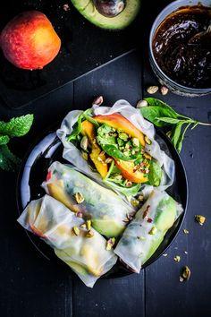 Peach and Avocado Summer Rolls. A bright, healthy, and fresh summer dinner.