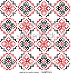 Seamless texture of abstract flat red black ornaments