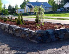 Viinijärven Kivestä tehty korotettu istutusallas yksityispihalla. Outdoor, Plants, Patio, Stone, Concrete Stone, Patio Garden, Trees To Plant, Garden Paths, Garden
