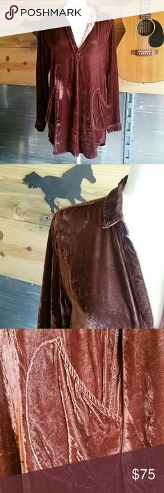 CP Shades Velvet Tunic Beautiful tunic in excellent condition, rusty reddish brown color, pockets, buttons at cuffs. CP Shades Tops