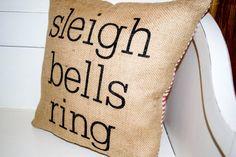 Burlap Christmas Pillow  Sleigh Bells Ring by JoaniesFavoriteThing, $30.00