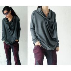 Dark gray long T Shirt by yuan123 on Etsy, $69.00