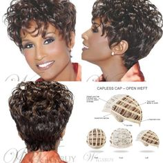 Top Quality Natural African American Hairstyle Short Curly Wig Hairstyle Short, Pixie Hairstyles, Straight Hairstyles, Hair Barrettes, Hair Clips, Wavy Pixie, Short Curly Wigs, African American Hairstyles, Curly Hair Styles