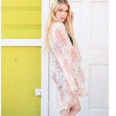 "SALE-Floral Boho Kimono Pretty floral pattern, 100% Polyester   Approximately 45"" long  Color: Cream and Rose Floral Harper Trends Tops"