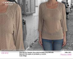 #Sweater Amy bordado CS 012 Hilo tejido en bordados y #Crochet Color Beige S,M,L $990