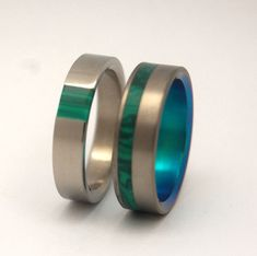 Green Nectar and Hummingbird Titanium Wedding Band Set - Malachite Stone Inlay  Custom Titanium Rings by Minter & Richter Designs