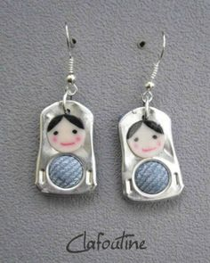 pop tab Matryoshka doll earrings~ what a fun and creative way to use these! Soda Tab Crafts, Can Tab Crafts, Aluminum Can Crafts, Bottle Cap Crafts, Aluminum Cans, Kumihimo Bracelet, Pop Top Crafts, Soda Can Tabs, Ideas Joyería