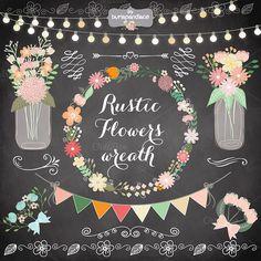 Rustic/Retro flower wreath clipart by burlapandlace on Creative Market