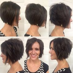 Cut her hair off last apt and no surprise she was ready to go shorter this round.  #teamshorthair #haircut #straightvscurly #flatironcurls #texturedbob #bob #razorcut #shorthairgirl #shorthair #shorthairideas #shorthairinspo #emilyandersonstyling