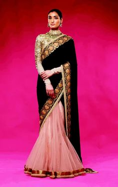 black n pink saree by Sabyasachi