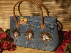 Ideias para customizar bolsas, com jeans