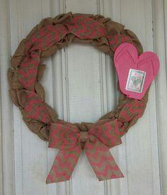 Pink Chevron Flip Flop Wreath