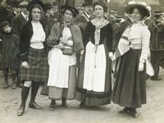 A group of suffragettes in the costume of England, Scotland, Ireland and Wales. 1908-1914, Illustrations Bureau