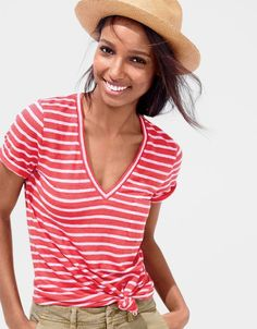 What we do at J.Crew: women's linen T-shirt in cerise and heather rose.