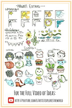 Kawaii journal ideas. Extras, corners, icons, dividers for bullet journals and scrapbooks.