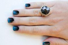 Blue-black ombre nails