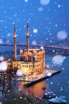 ORTAKOY MOSQUE: was built by (Armenian Architect) Nigogos Balyan, in Baroque-style for Sultan Abdulmecit, between in Istanbul. Nigogos new style was tried in This mosque and Dolmabahce Mosque. Winter in Istanbul by Ilhan Eroglu) Beautiful World, Beautiful Places, Travel Around The World, Around The Worlds, Bosphorus Bridge, Magic Places, All Nature, Turkey Travel, Winter Pictures