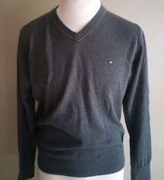 Men's Tommy Hilfiger V Neck Gray Pima Cotton Gray Sweater Large #TommyHilfiger #VNeck