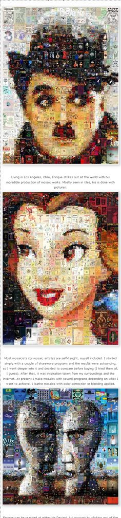Charles Chaplin Mosaic, Photo Mosaic #photo #CharlesChaplin #Mosaic #art #collage #photography