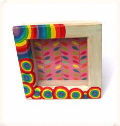 www.facebook.com/midsummerlilys Rainbow Multicoloured White Circles Shabby Chic Deep Wooden Frame Hand Painted.